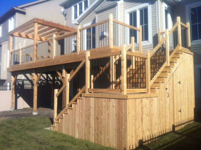 Synergy3 Construction Ottawa Custom Multi Level Deck Wood Backyard Patio