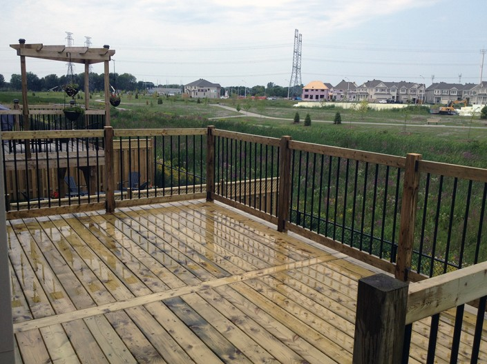 Synergy3 Construction Ottawa Custom Raised Deck Black Metal Railing