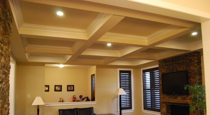 Synergy3 Construction Ottawa Custom Home Finishing, Custom Renovation, Coffered Ceiling Living Room