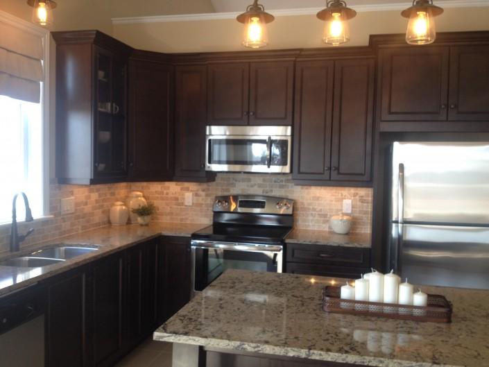 Synergy3 Construction Ottawa Dark Wood Kitchen Cabinets, Kitchen Renovation, Backsplash, Granite Countertops